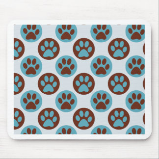 Blue Polka Dot Dog Paw Pattern Mouse Pad