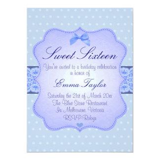Blue Polka Dot Elegant Sweet16 Birthday Invite