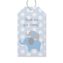 Blue Polka Dot Elephant Baby Shower Gift Tags