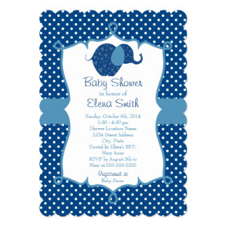 Blue Polka Dot Elephant Baby Shower Personalized Announcement