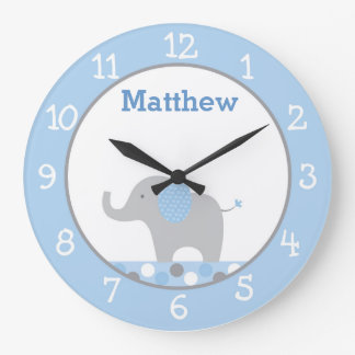 Blue Polka Dot Elephant Nursery Large Clock