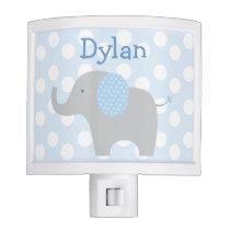 Blue Polka Dot Elephant Nursery Night Light