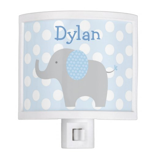 Blue Polka Dot Elephant Nursery Night Light