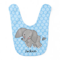 Blue Polka Dot Elephant Personalized Bib