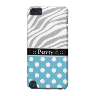 Blue Polka Dot Faded Zebra Print iPod Touch 5G iPod Touch 5G Cover