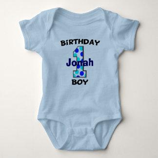 Blue Polka Dot First Birthday Boy Shirt