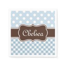 Blue Polka Dot Gingham Patterns Brown Name Paper Napkin