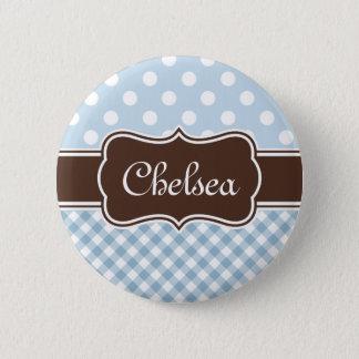 Blue Polka Dot Gingham Patterns Brown Name Pinback Button