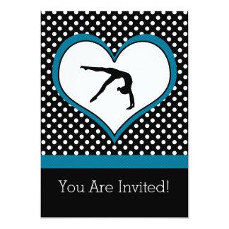 Blue Polka-Dot Gymnastics with heart Card