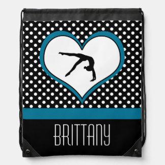 Blue Polka-Dot Gymnastics with heart Drawstring Bag