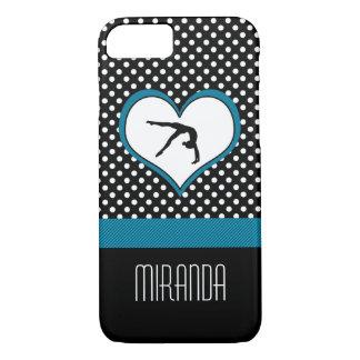 Blue Polka-Dot Gymnastics with heart iPhone 8/7 Case