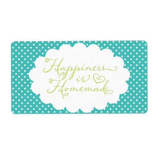 Blue Polka Dot Happiness is Homemade Personalized Shipping Label