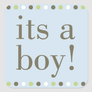 Blue Polka Dot Its a Boy Square Stickers