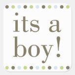 Blue Polka Dot Its a Boy Stickers
