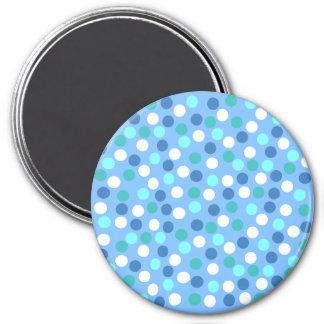 Blue Polka Dot Large Round Magnet