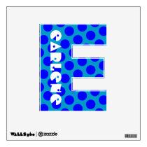 Blue Polka Dot Letter E Wall Decal