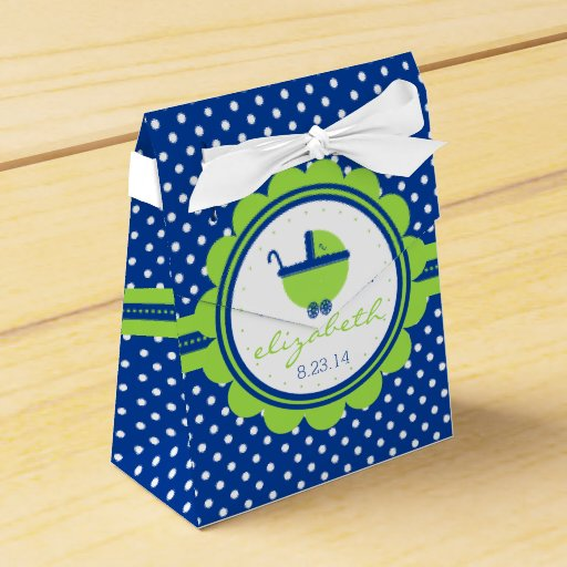 Blue Baby Shower Favor Boxes : Blue polka dot lime green baby shower favor box zazzle