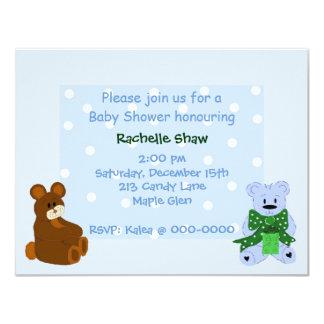 Blue Polka Dot Little Bears - Shower Invitation