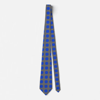 Blue Polka-Dot Men's Tie with Gray Background