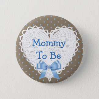 Blue Polka Dot Mom to be Brown Baby Shower Button