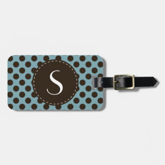 Blue Polka Dot Monogram Personalized Luggage Tag