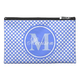 Blue Polka Dot Monogram Travel Accessory Bag