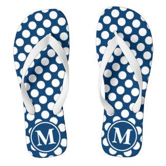 Blue Polka Dot Monogrammed Flip Flops
