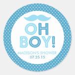 Blue Polka Dot Oh Boy Baby Shower Classic Round Sticker