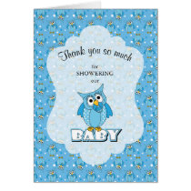 Blue Polka Dot Owl Baby Shower Thank You Card