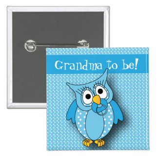 Blue Polka Dot Owl | Baby Shower Theme 2 Inch Square Button