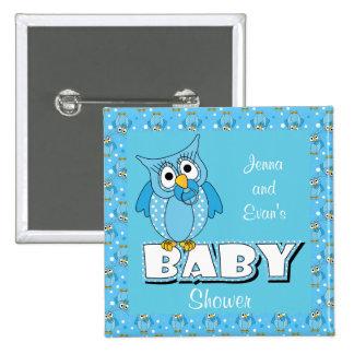 Blue Polka Dot Owl | Baby Shower Theme Button