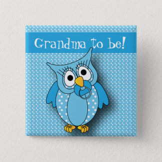 Blue Polka Dot Owl | Baby Shower Theme Button
