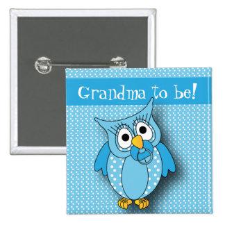 Blue Polka Dot Owl   Baby Shower Theme Button