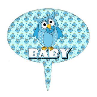 Blue Polka Dot Owl Baby Shower Theme Cake Topper
