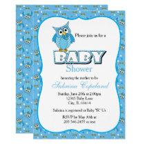 Blue Polka Dot Owl | Baby Shower Theme Card