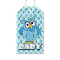 Blue Polka Dot Owl Baby Shower Theme Gift Tags