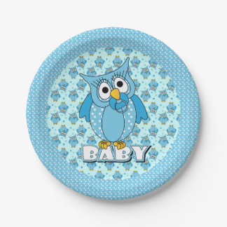 Blue Polka Dot Owl Baby Shower Theme Paper Plate