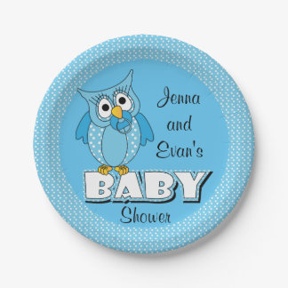 Blue Polka Dot Owl | Baby Shower Theme Paper Plate