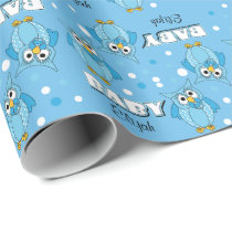 Blue Polka Dot Owl Baby Shower Theme Wrapping Paper