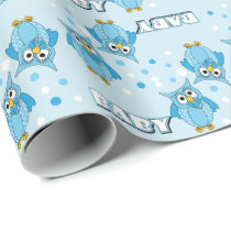 Blue Polka Dot Owls for a Baby Shower Theme Wrapping Paper