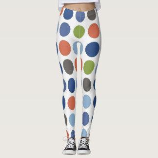 Blue polka dot pattern leggings