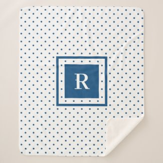 Blue Polka Dot Pattern on White Modern Monogram Sherpa Blanket