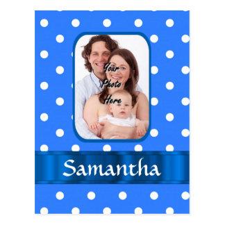 Blue polka dot pattern postcard