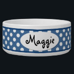 "Blue Polka Dot Personalized Ceramic Dog Bowl<br><div class=""desc"">This custom Blue and White Polka Dots Personalized Ceramic Dog Bowl is a cute choice for a large dog. This cool and unique polkadot dog bowl makes a charming gift for your very best friend.</div>"