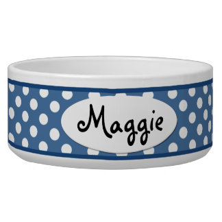 Blue Polka Dot Personalized Ceramic Dog Bowl