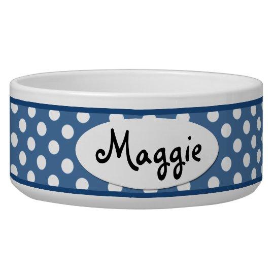 Blue Polka Dot Personalized Ceramic Dog Bowl