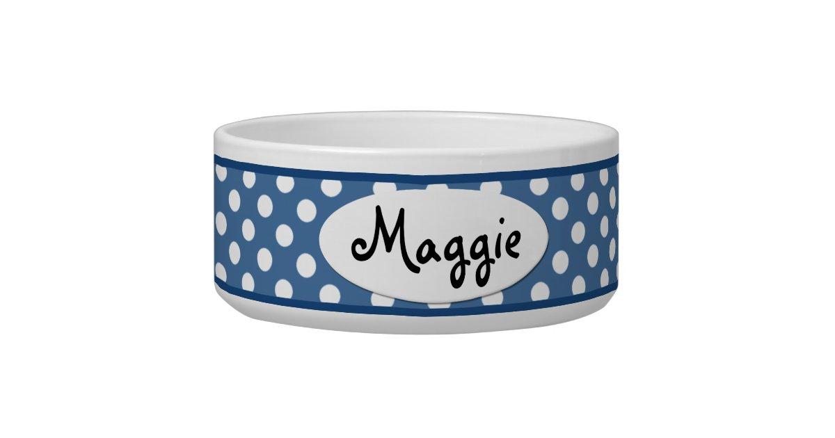 Blue Polka Dot Personalized Ceramic Dog Bowl Zazzle