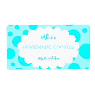 Blue Polka Dot Personalized Homemade Cookies Label