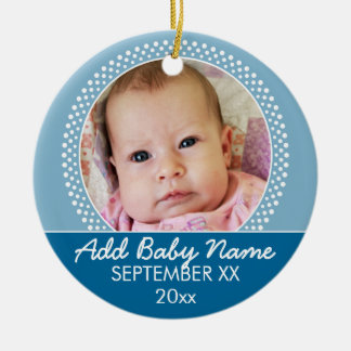 Blue Polka Dot Photo Frame Announcement Double-Sided Ceramic Round Christmas Ornament