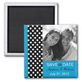 Blue Polka Dot Photo Save The Date Magnet